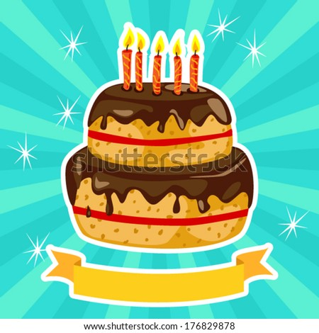Fun chocolate birthday cake over blue green sunburst - stock vector