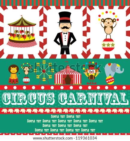 fun circus card. vector illustration - stock vector