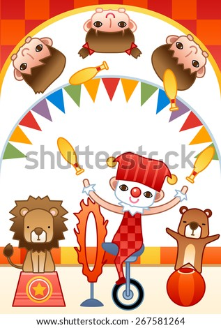 Fun Clown Show and lovely animal - joyful young kids watch funny entertainment performance with cute little friends in theater on white background with bright red chess patterns : vector illustration - stock vector