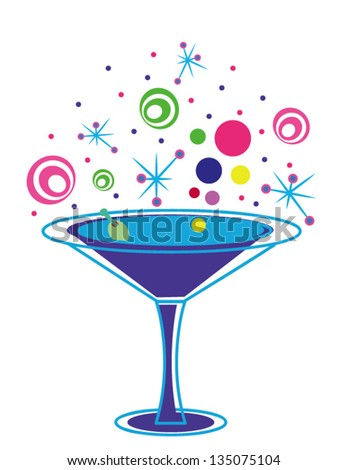 Fun Cocktail Glass with Olive on a White Background - stock vector