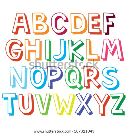 Fun Color Font For Kids Child Outline Type