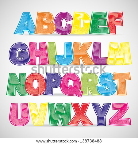Fun colorful scratched vector font. Use for design. - stock vector