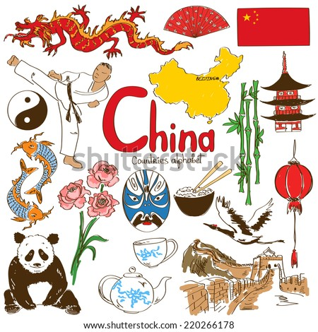 Fun colorful sketch collection of Chinese icons, countries alphabet - stock vector