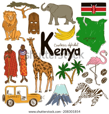 Fun colorful sketch collection of Kenya icons, countries alphabet - stock vector