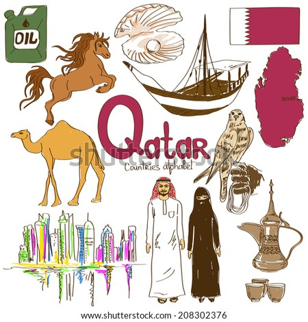 Fun Colorful Sketch Collection Of Qatar Icons Countries Alphabet