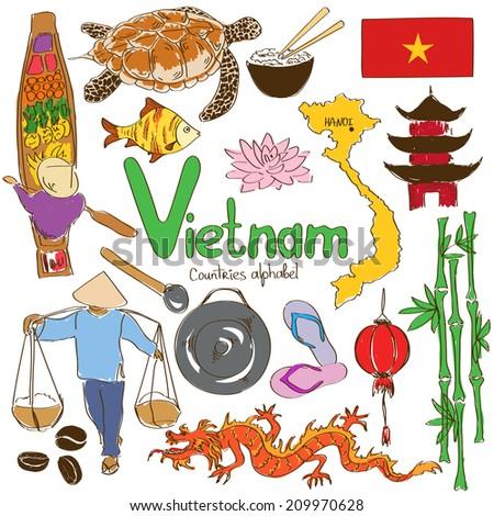 Fun colorful sketch collection of Vietnamese icons, countries alphabet - stock vector