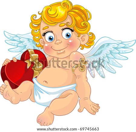 Fun cupid with box of candy - stock vector