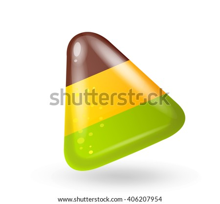 Fun cute cartoon triangular color candy. Vector illustration, clip-art, isolated on white background - stock vector