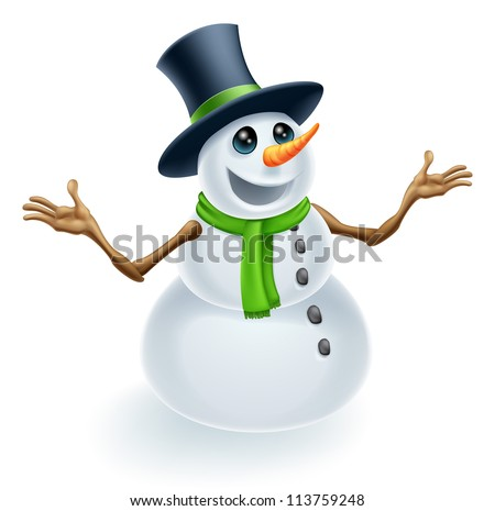 Fun cute Christmas Snowman smiling and wearing a top hat - stock vector