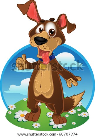 Fun dog on a color background - stock vector