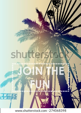 Fun fair and palm tree with print for t-shirt graphic and other uses. - stock vector