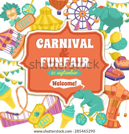 Fun fair traveling circus and carnival promo poster vector illustration - stock vector