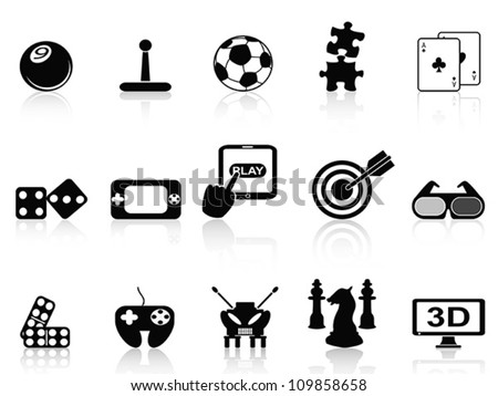 fun game icons set - stock vector