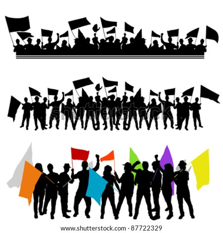fun group with flags. - stock vector