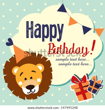 fun happy birthday card.  - stock vector