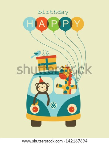 fun happy birthday card design. vector illustration - stock vector