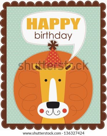 fun happy birthday card. vector illustration - stock vector