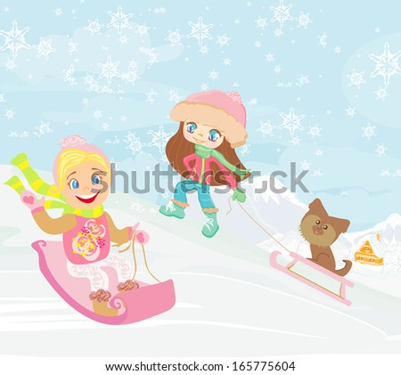 fun in the winter day - stock vector