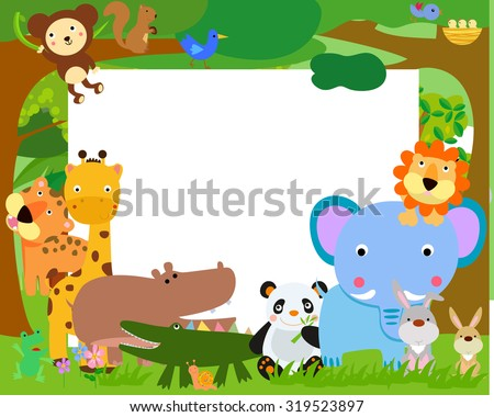 Fun Jungle Animals and banner