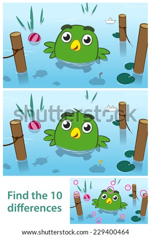 Fun kids educational puzzle of a bird in a lake with ten differences for your child to spot by comparing two pictures together with the answers in a third vector illustration - stock vector