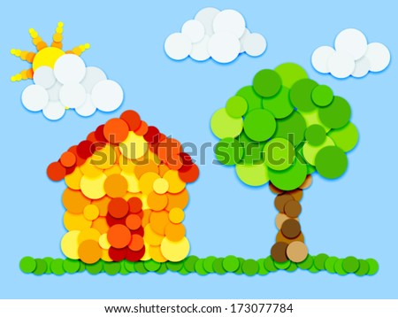 Fun landscape, house, trees, sun and clouds made of color circles with shadows on blue background - stock vector