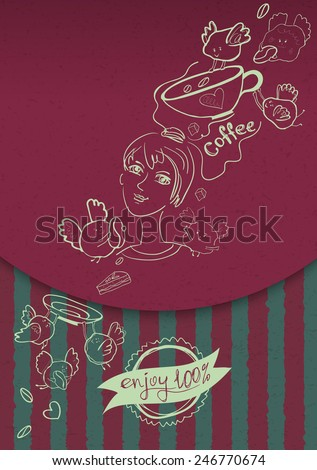 Fun packaging, poster or sticker for coffee shops, restaurants, cafes and caffeine. Vector illustration - stock vector