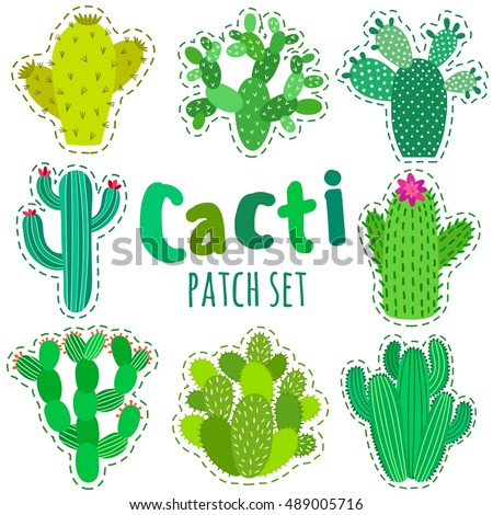 Fun patch cactus set print pin badge sticker collection cactus vector