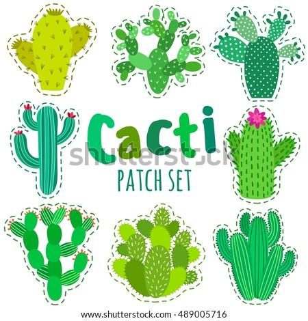 Fun patch cactus set print pin badge sticker collection cactus vector