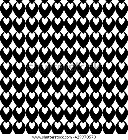 Fun pattern with black and white decorations on white background