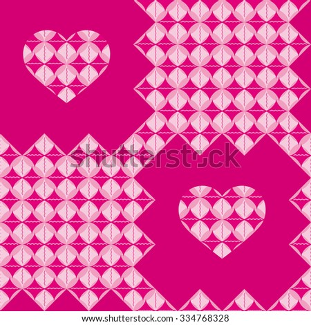 Fun pattern with pink and purple hearts and decorations