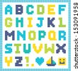 Fun pixel art alphabet set in blue and green, isolated on white. Good for baby shower, scrap-booking, school projects, posters, textiles. See my folio for JPEG version and for other colors. - stock vector