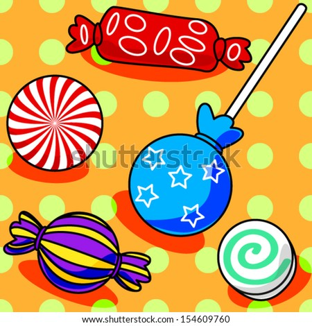 Fun seamless candy pattern with polka dots on orange - stock vector