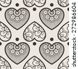 Fun seamless love heart background. Great for baby announcement, Valentine's Day, Mother's Day, Easter, wedding, scrapbook, gift wrapping paper, textiles. - stock vector
