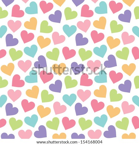 Fun seamless vintage love heart background in pretty colors. Great for baby announcement, Valentine's Day, Mother's Day, Easter, wedding, scrapbook, gift wrapping paper, textiles. - stock vector