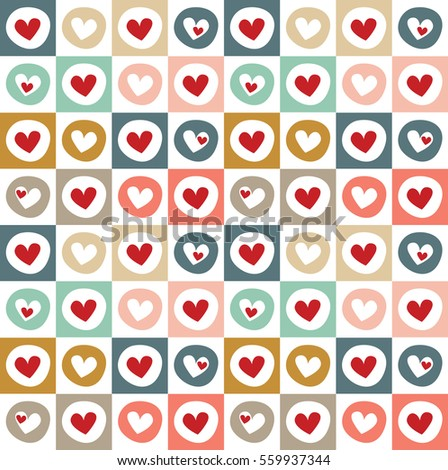 Fun seamless vintage love heart background in pretty colors. Great for Valentine's Day, Mother's Day, Easter, wedding, scrapbook, gift wrapping paper, textiles.