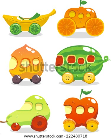 Fun set of six cars made up out of fruits - stock vector