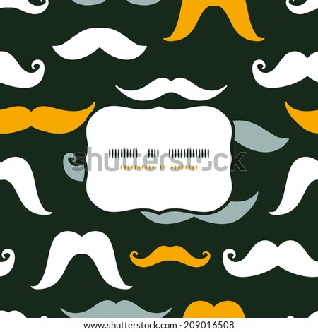 Fun silhouette mustaches frame seamless pattern background - stock vector