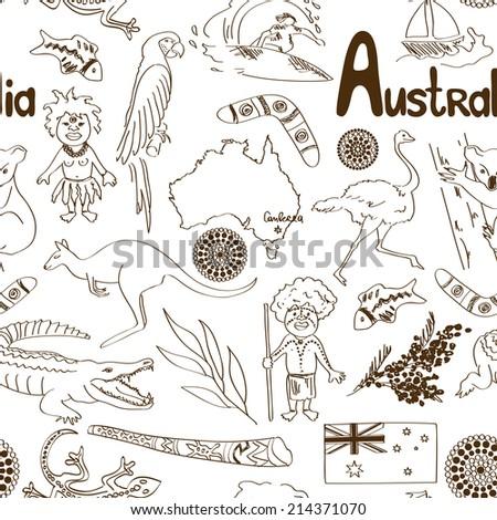 Fun sketch Australia seamless pattern - stock vector
