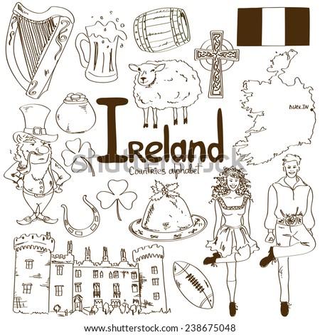 Fun sketch collection of Irish icons, countries alphabet - stock vector