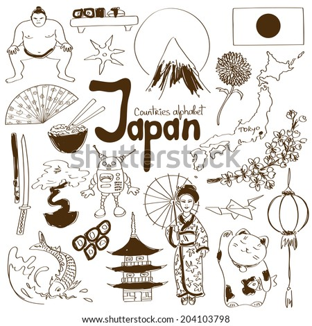 Fun sketch collection of Japan icons, countries alphabet - stock vector