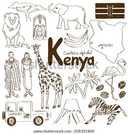 Fun sketch collection of Kenya icons, countries alphabet - stock vector