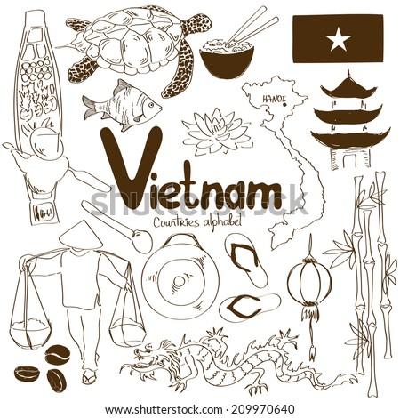 Fun sketch collection of Vietnamese icons, countries alphabet - stock vector