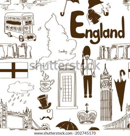 Fun sketch England seamless pattern