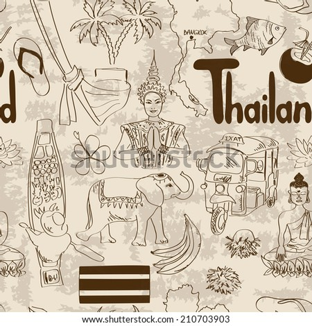 Fun sketch Thailand seamless pattern
