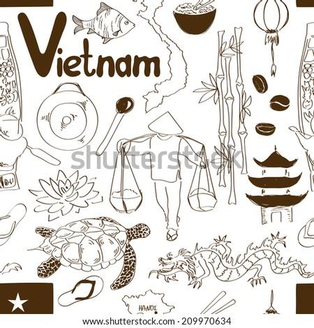 Fun sketch Vietnam seamless pattern - stock vector