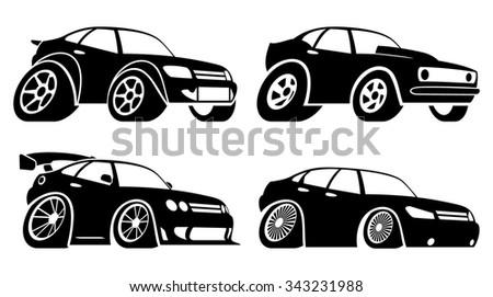 Fun sport car icons - stock vector