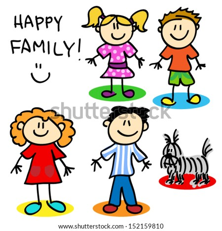 Fun stick figure cartoon family, father, mother, little girl, little boy and dog. - stock vector