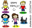 Fun stick figure cartoon lesbian or gay family with, two mothers, little girl, little boy and dog. - stock photo