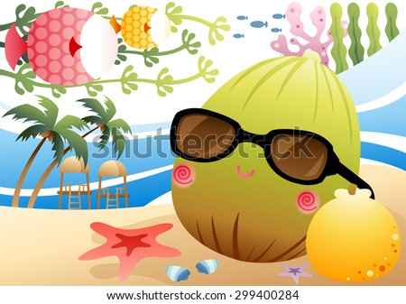 Fun Summer Story - cute green coconut rest and enjoy relaxing vacation with fresh yellow mandarin in tropical paradise on background of bright blue sea or sky and seaside sand : vector illustration - stock vector