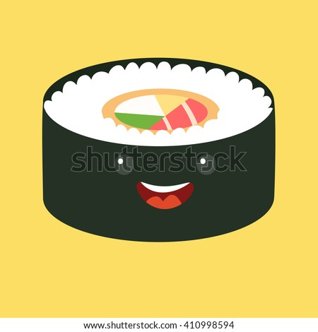 Fun sushi vector cartoon character. Cute sushi with caviar. Japanese food with cute faces. Happy characters. Vector illustration, isolated on white background